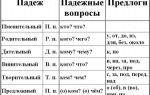 Таблица падежей русского языка с вопросами к ним, употребление нужных предлогов с конкретными падежами