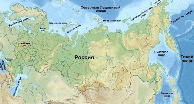 Моря, омывающие Россию, на физической карте: морские границы, средняя глубина, особенности природы
