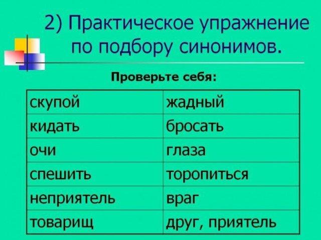 Синонимы в русском языке, как определить такие слова, примеры