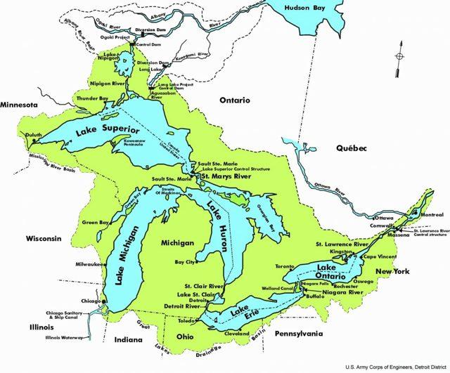 Великие озёра Северной Америки: названия, где находятся на карте большие озера